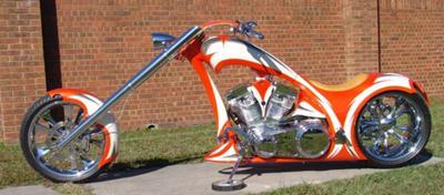 Orange and White  2008 HIGH END CHOPPER - Chopper City Single Sided Chopper Frame