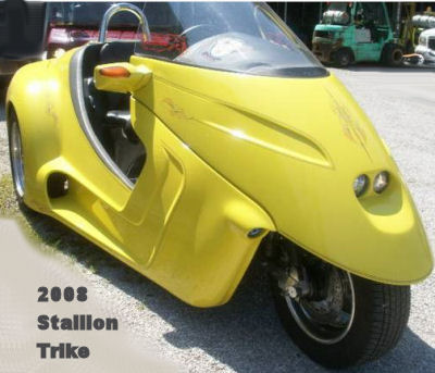 2008 Stallion Trike Motorcycle in Bright Yellow (this motorcycle is for example only; please contact seller for pics of the actual bike for sale)