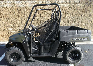 Sage Green 2013 Polaris Ranger 400 ATV with with its on-demand true all-wheel drive (AWD) and 500 pound capacity, rear dump box