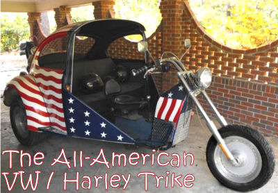 The All American Stars & Stripes Hybrid Harley Davidson Fatboy VW Trike Motorcycle