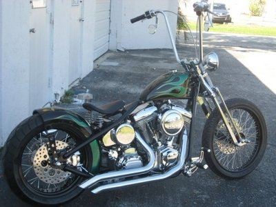 CUSTOM BOBBER,POWDERCOATED FRAME AND WHEELS,SPRINGER FRONT END,BILLET CONTROLS,100CC,110HP REV TEC ENGINE