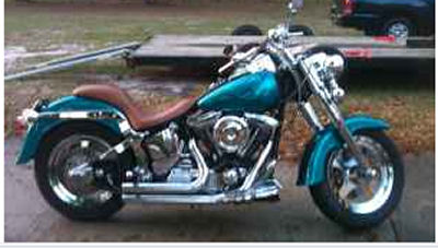 Custom Harley Davidson Fatboy w Colormania Paint Job, Ostrich Skin Seat, 95 cu in motor with cams