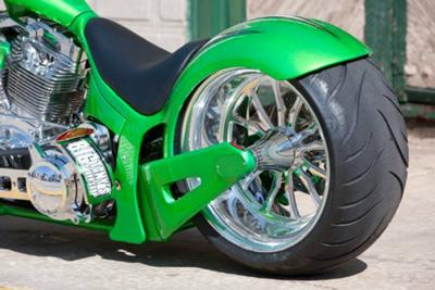 Candy Apple Green Pearl White Paint Color and Silver-Leaf graphicsCustom Pro Street Motorcycle Wide Rear Tire and Fender (example only; please contact seller for pics)