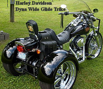 Harley Davidson Dyna Wide Glide Trike (this motorcycle is for example only; please contact seller for pics of the actual custom trike  for sale)