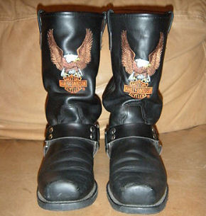 Men's Used Classic Harley Davidson Black Harness Biker Motorcycle Boots with Logo