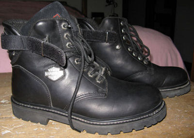 Mens Harley Davidson short leather motorcycle riding boots in black
