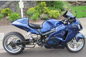 2001 Suzuki Hayabusa blue super custom airbrushed