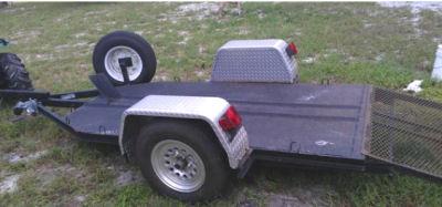 Heavy Duty diamond plate steel ATV motorcycle trailer hauler