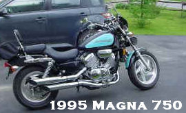 1995 Honda Magna 750 1995 Honda Magna VF 750 CD with turquoise blue and black paint color combination