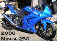 2008 Kawasaki Ninja 250r with blue paint color option
