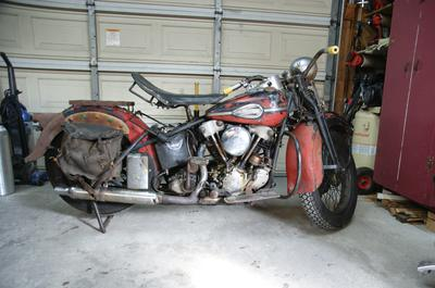 Old 1937 Harley Davidson Knucklehead Mongrel Motorcycle Running andTitled