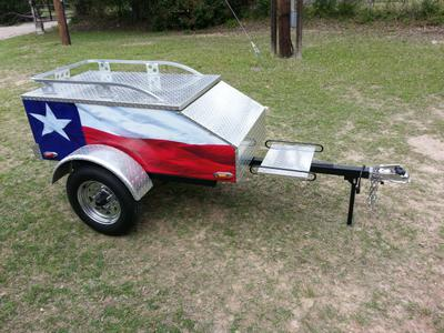 Custom Painted Enclosed Motorcycle Cargo Trailer with a Flag Theme Patriotic Red White and Blue Paint color Combination