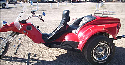 VW trike motorcycle w 1800 pancake internal combustion engine - duel carbs, springer front end