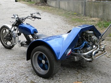 All Steel Metallic Blue Four Speed Custom VW Trike w 1600 cc engine (this photo is for example only; please contact seller for pics of the actual motorcycle for sale in this classified)