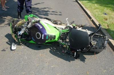 The Kawasaki motorcycle that the unfortunate accident victim was riding at the time of impact.
