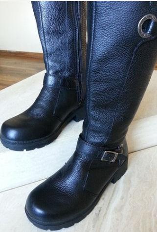 Tall designer black leather womens ladies motorcycle riding Harley Davidson biker boots