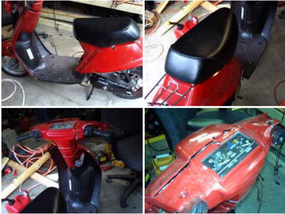 Red Yamaha Razz Scooter Moped  (this photo is for example only; please contact seller for pics of the actual moped scooter for sale in this classified)