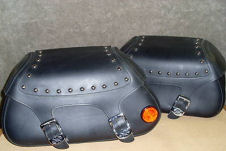 yamaha roadstar custom leather saddlebags set pair